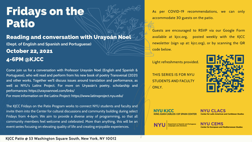 Fridays on the Patio - Reading and conversation with Urayoan Noel (Dept. of English and Spanish and Portuguese)