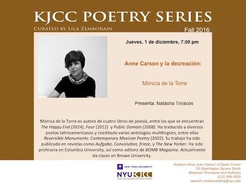 KJCC Poetry Series - Carson y la decreación 4: Mónica de la Torre
