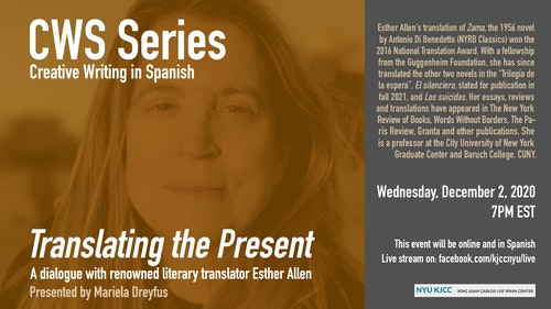 Online Event | CWS Series | Translating the Present. A dialogue with renowned literary translator Esther Allen (Baruch College/Graduate Center, CUNY)