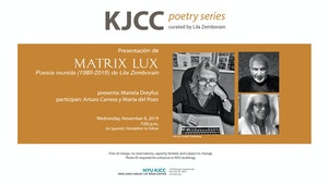 image from KJCC Poetry Series | Presentation of Matrix Lux. Poesía reunida (1989-2019) by Lila Zemborain