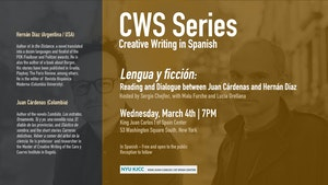 image from CWS Series | Lengua y ficción: Reading and Dialogue with Juan Cárdenas and Hernán Díaz