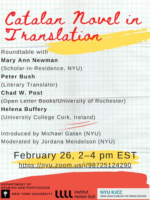 Online Event | KJCC/ S & P/ Institut Ramon Llull | Catalan Novel in Translation