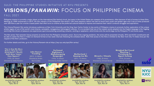 VISIONS/PANAWIN FOCUS ON PHILIPPINE CINEMA September 18 – December 11