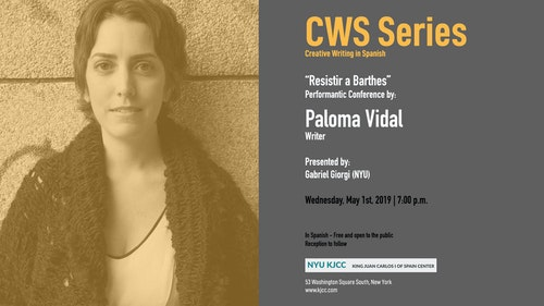 """Performance Conference: """"Resistir a Barthes"""", by writer Paloma Vidal"""