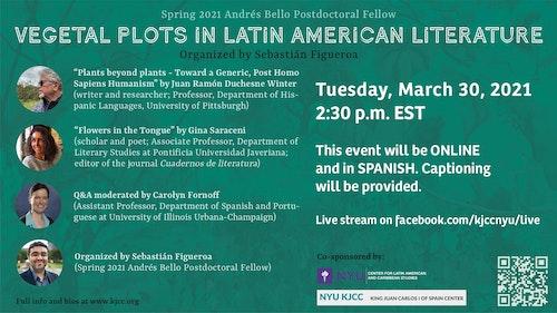 Online Event | Round table: Vegetal Plots in Latin American Literature With Juan Ramón Duchesne Winter (University of Pittsburgh) and Gina Saraceni (Pontificia Universidad Javeriana)